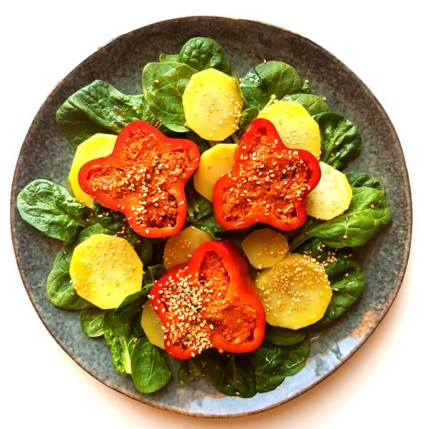 Pimiento rojo relleno de Hummus de Tomate seco